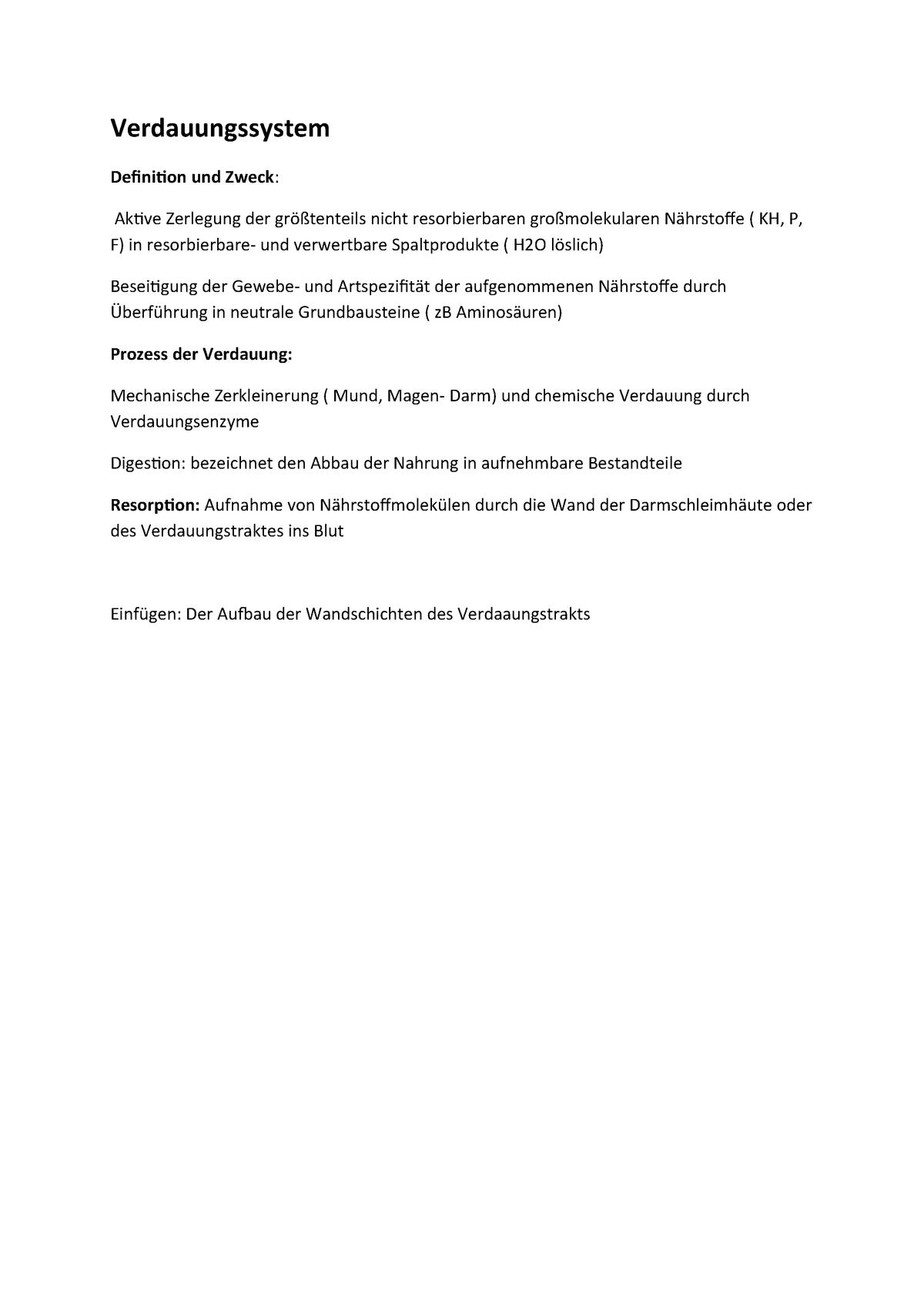 Verdauungssystem - Zusammenfassung der Veranstaltung - StuDocu