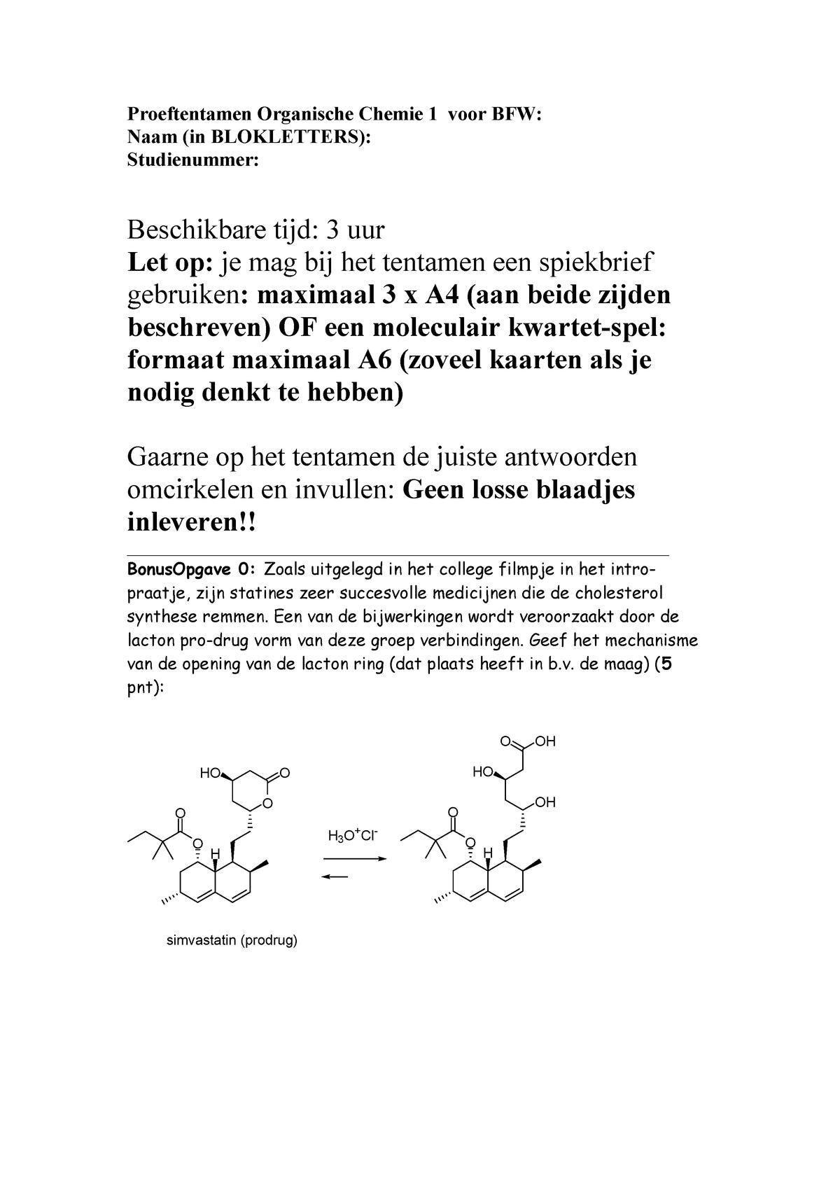 Organische Chemie I Proeftentamen Bfw2017 Lb1044 Studeersnel