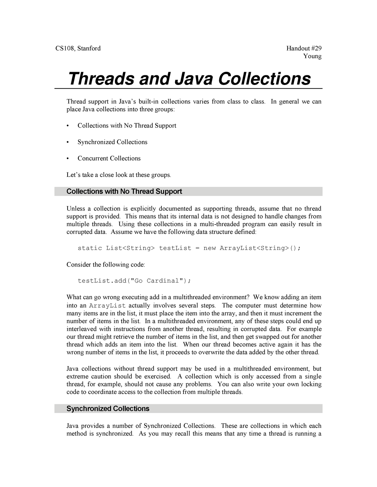 29Java Collections And Threads - CS 108: Object-Oriented Systems