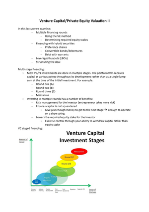 Lecture 5 - Venture Capital:Private Equity Valuation II - FINC3022