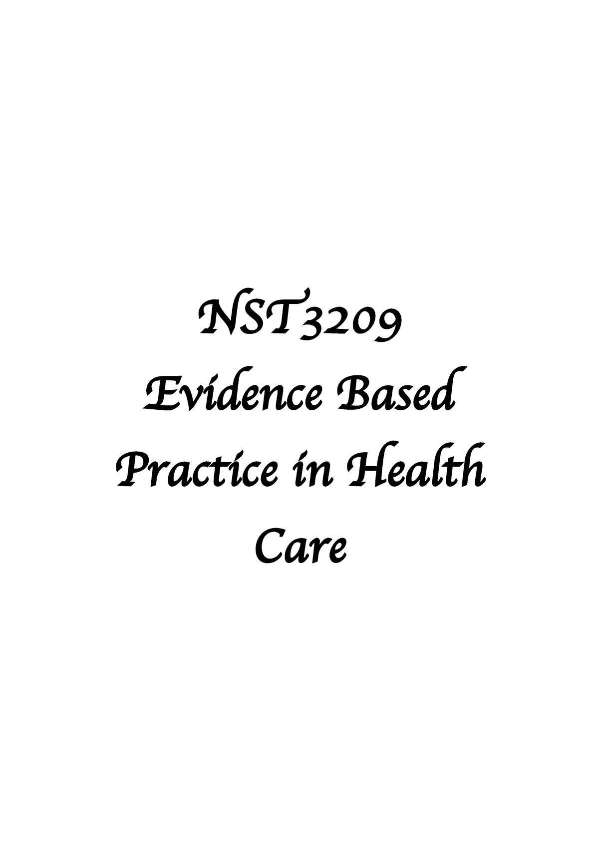 Evidence Based Practice Exam Notes - NCS1202 - ECU - StuDocu