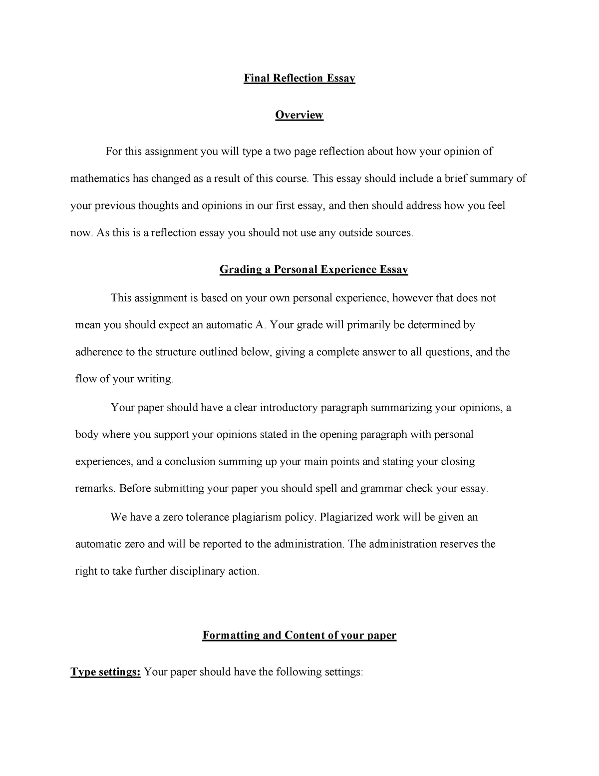 online course reflection paper
