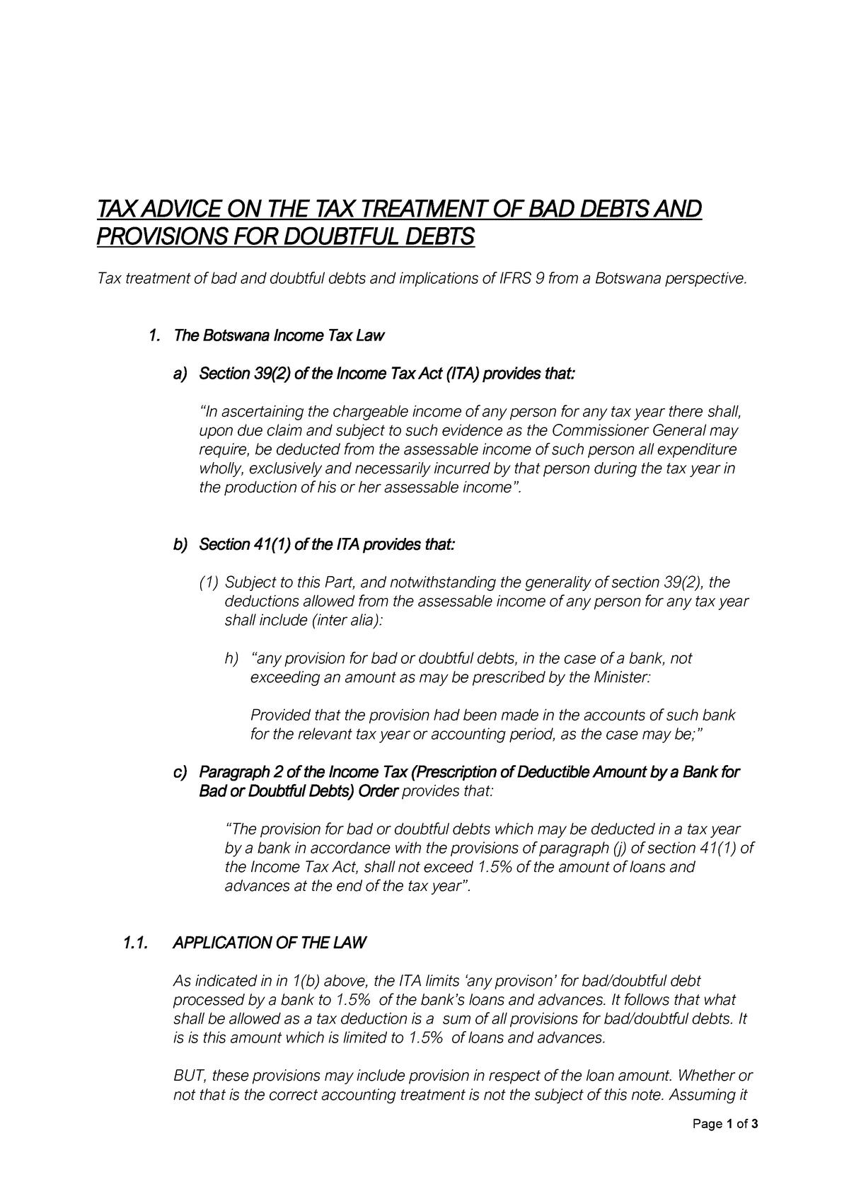 Ifrs 9 Vs Tax Botswana Macroeconomics Econ302 Uz Studocu