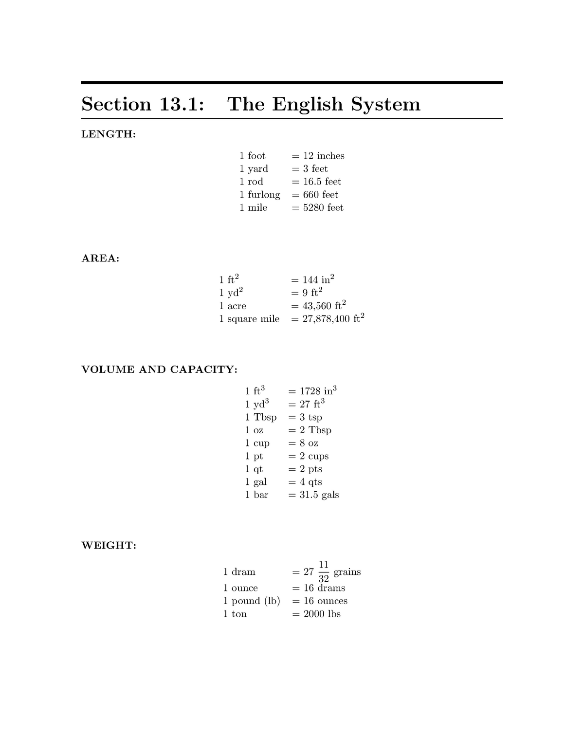 The English System - MATH 14002: Basic Mathematical Concepts