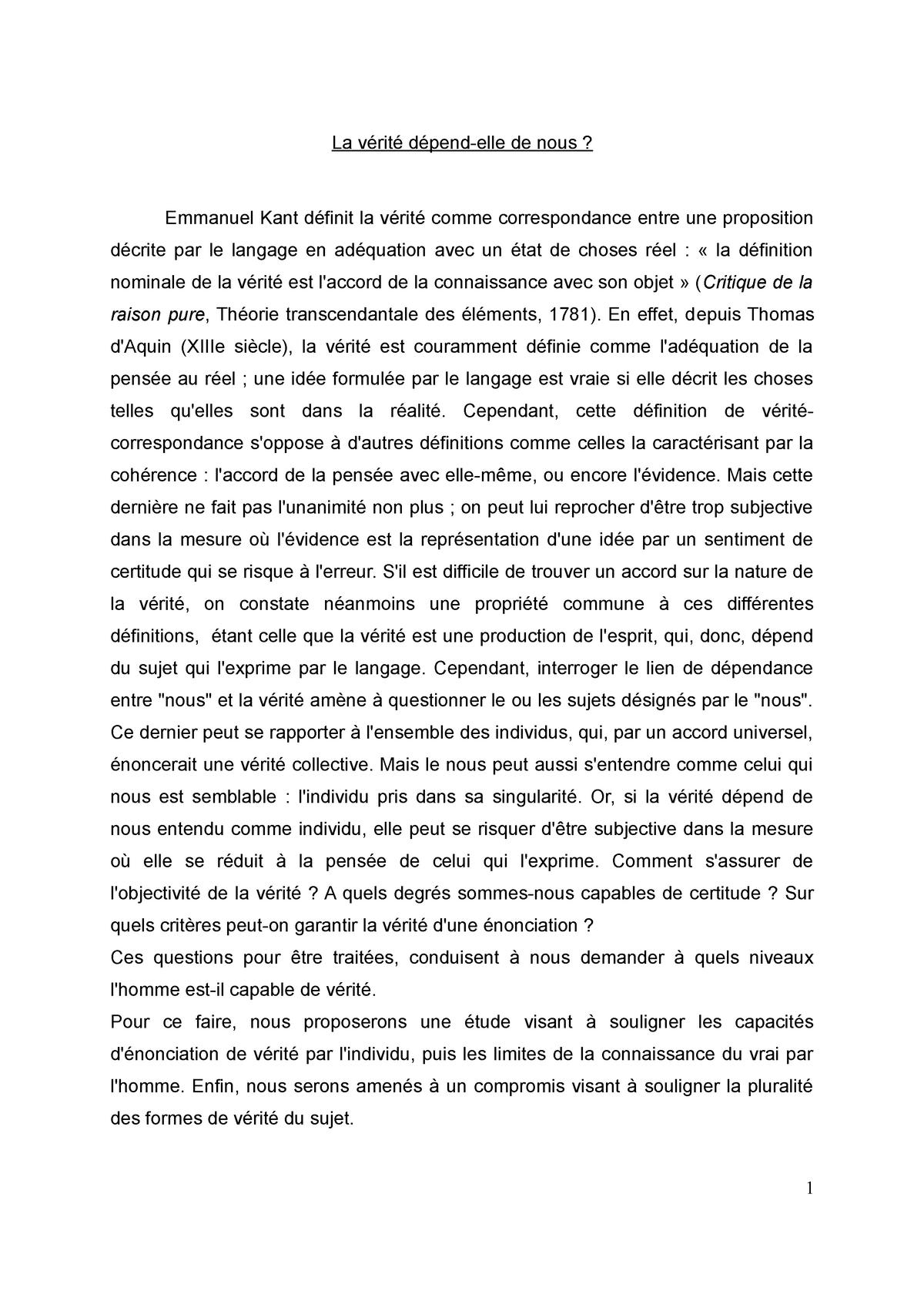 Dissertation La Verite Depend Elle De Nou Studocu Qu Est Ce Que