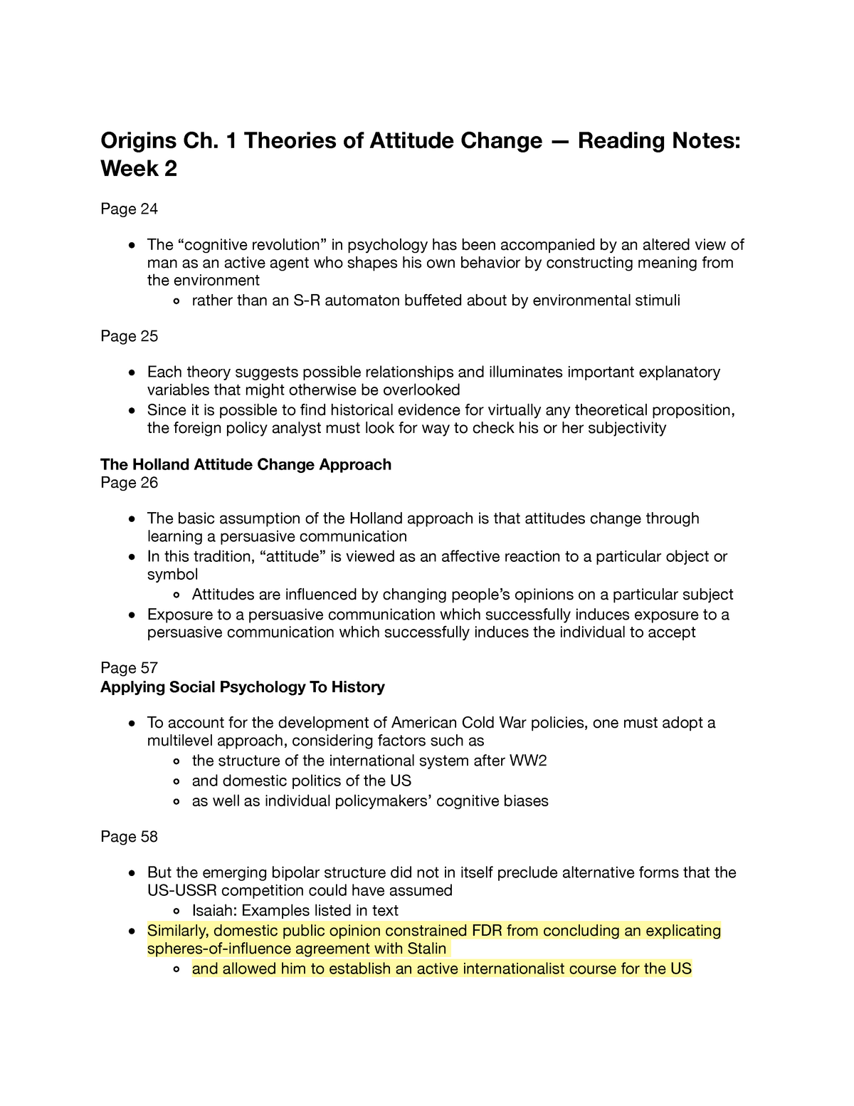 Pol Sci 120A - Ch 1 Theories of Attitude Change - Reading - StuDocu