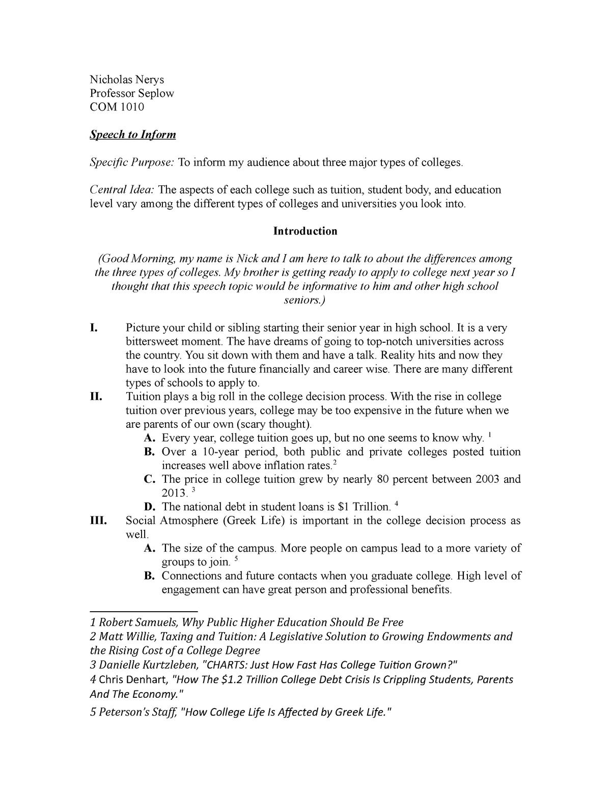 Speech to Inform-Types of Colleges - COM 1010 - StuDocu