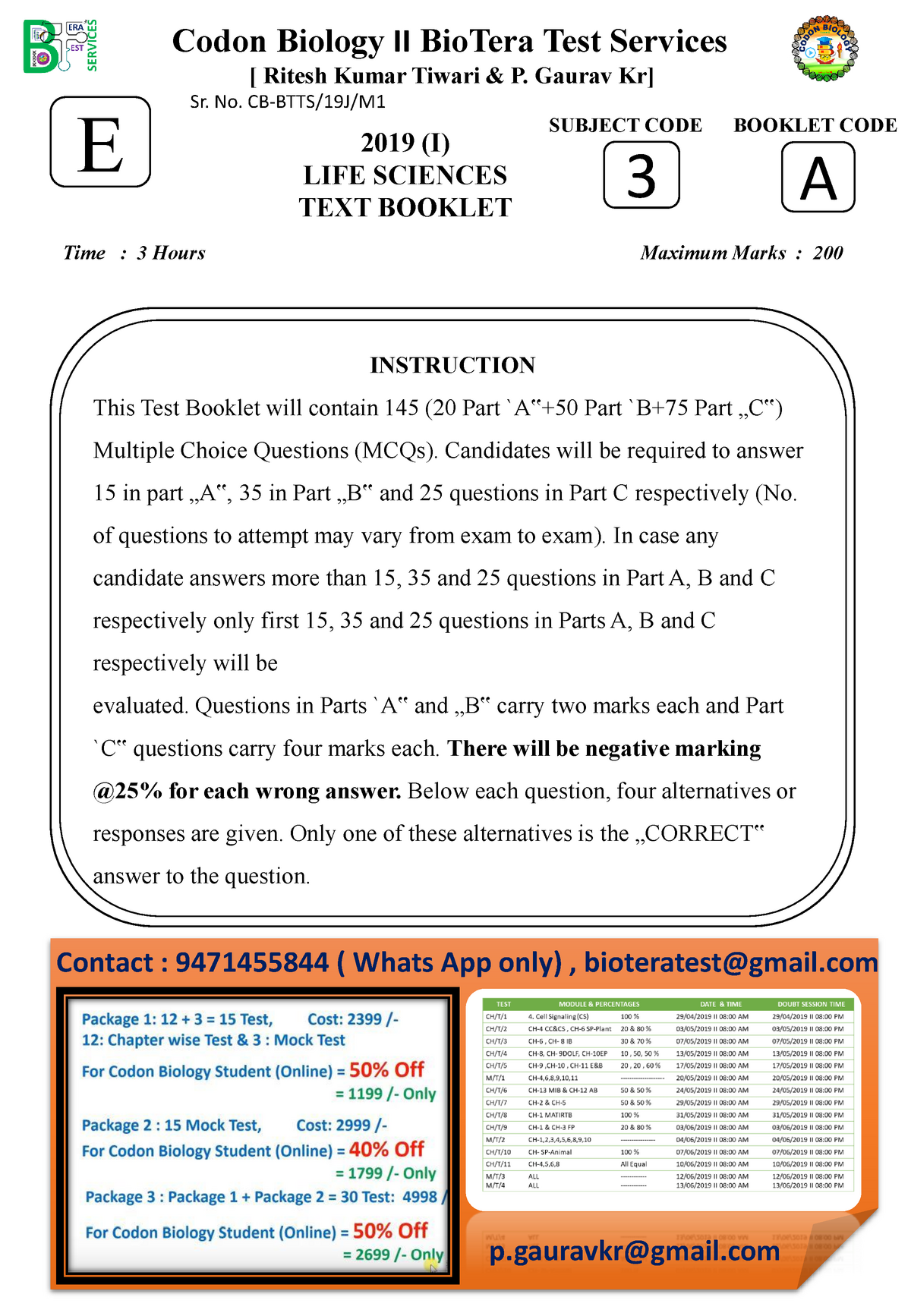 Mock Test ( a+b+c) - Biotechnology PhD - StuDocu