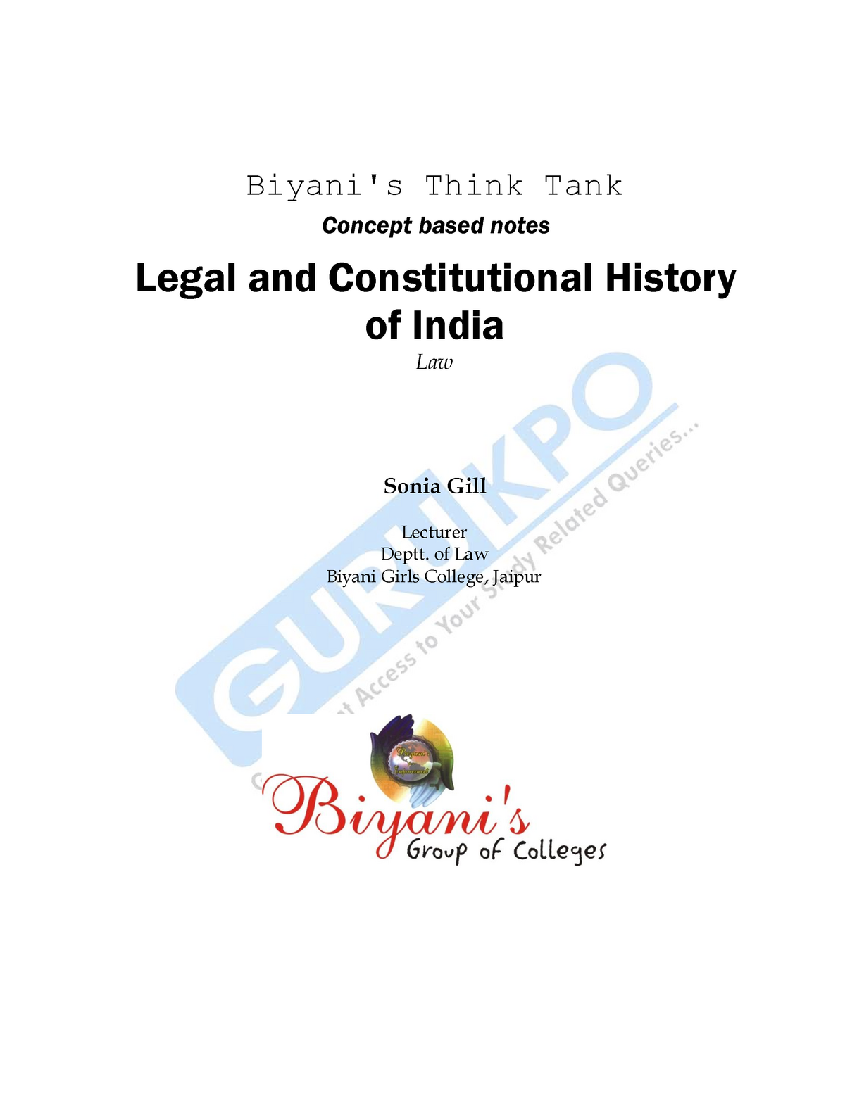 250142347 Legal and Constitutional History of India - BBA