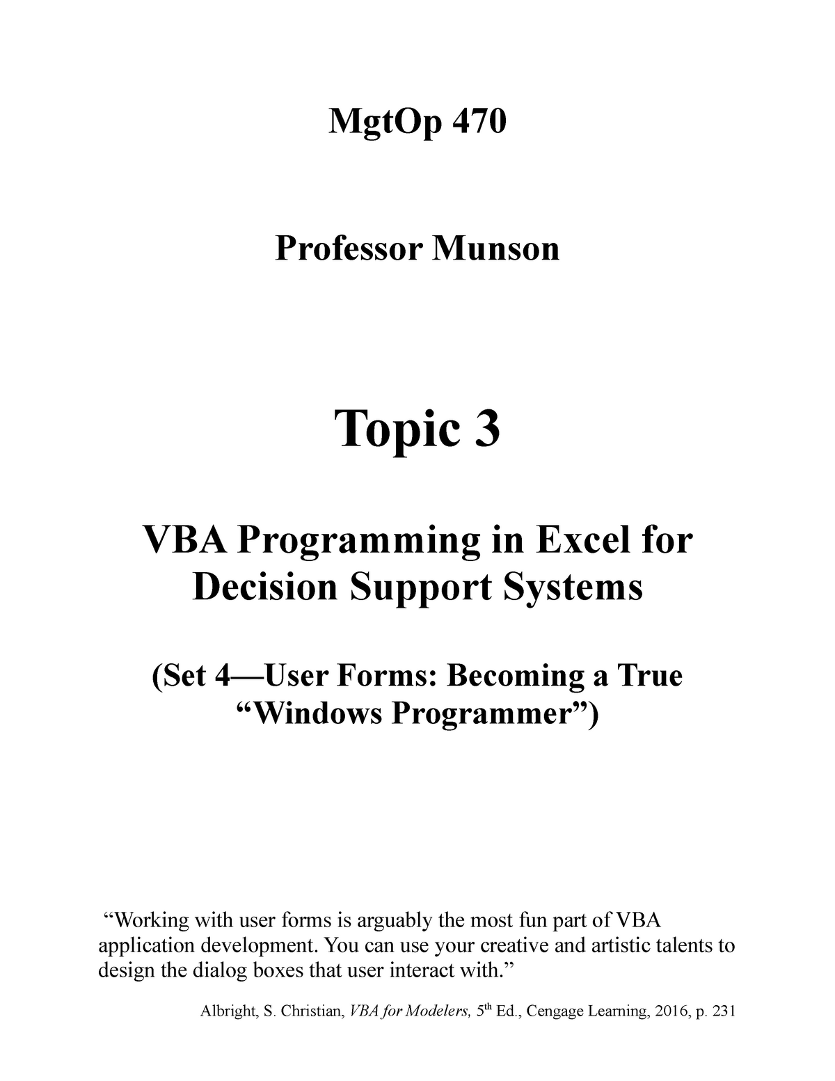 Topic 3 - VBA Programming in Excel for Decision Support