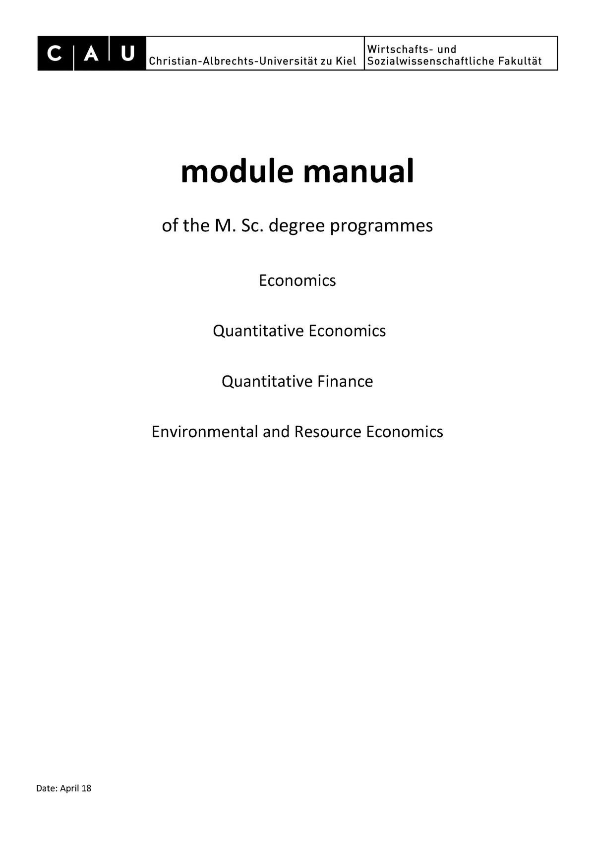 Module Manual Economics Master Programs - 011203: Engineering
