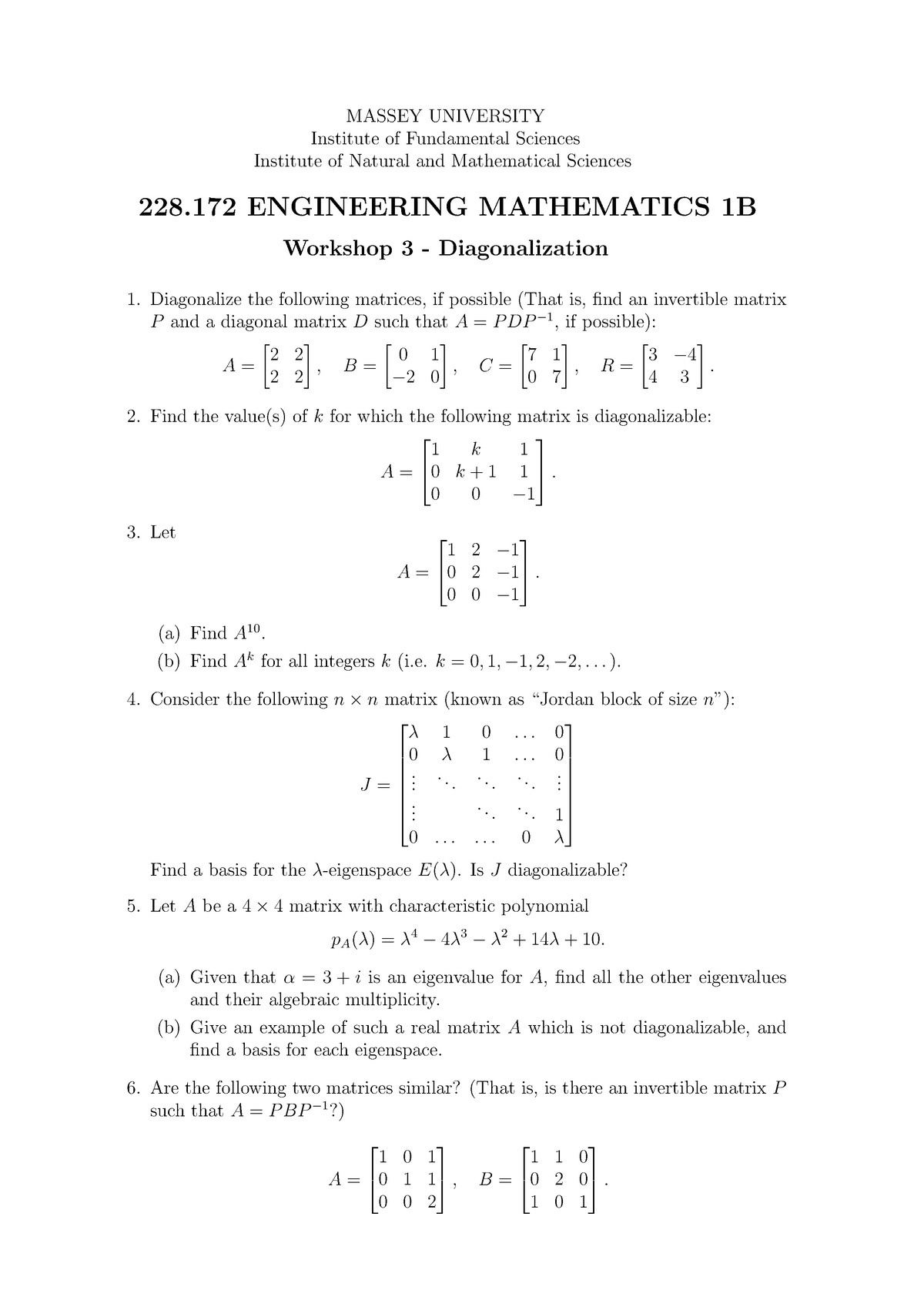 228172-W03-Diagonalization - Engineering Mathematics 228 171