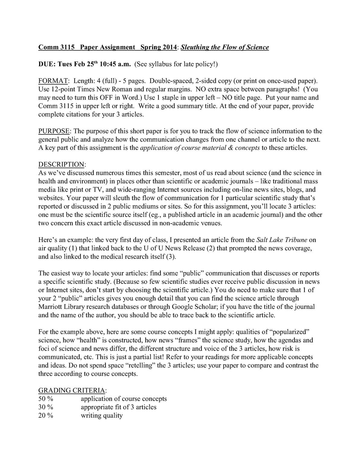 Asignment 1 paper sci flow - COMM 3115: Comm Sci, Health