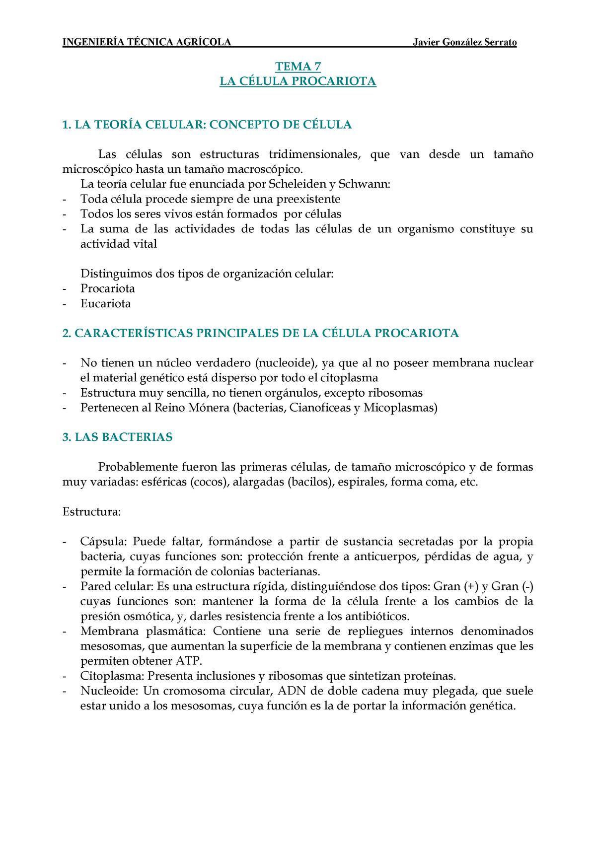 Tema 07 La Célula Procariota Biología 45091101 Ual