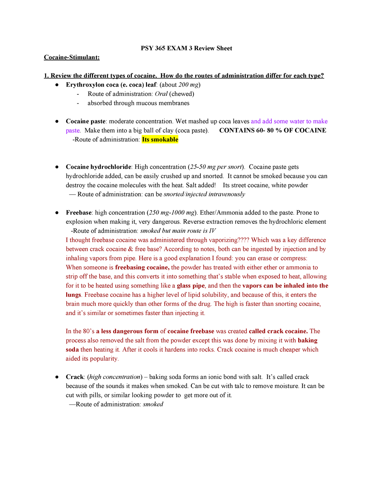 PSY 365 EXAM 3 Review Sheet Study Guide - PSY 365: Drugs and