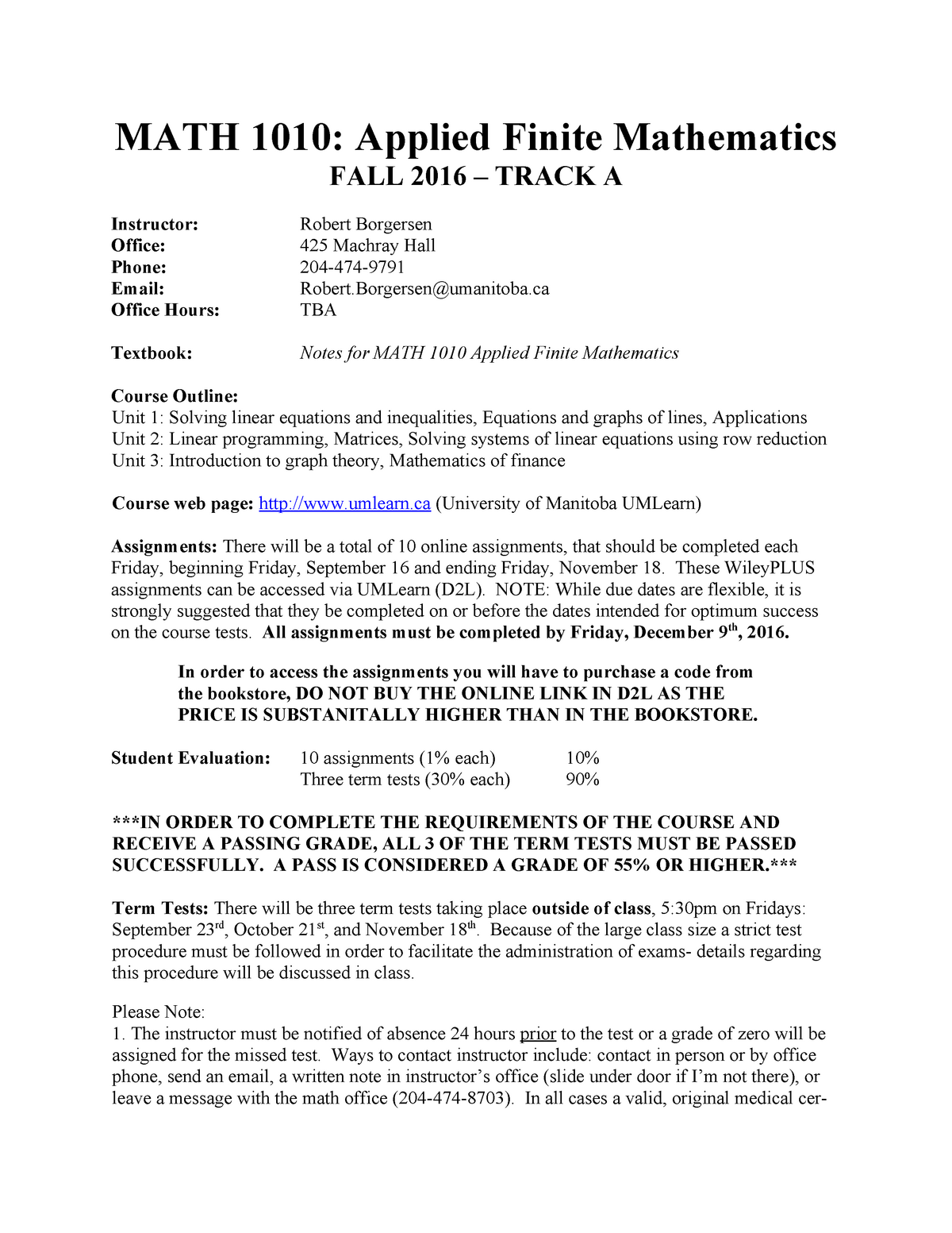 Track A outline- Final - Lecture note Course Outline - MATH