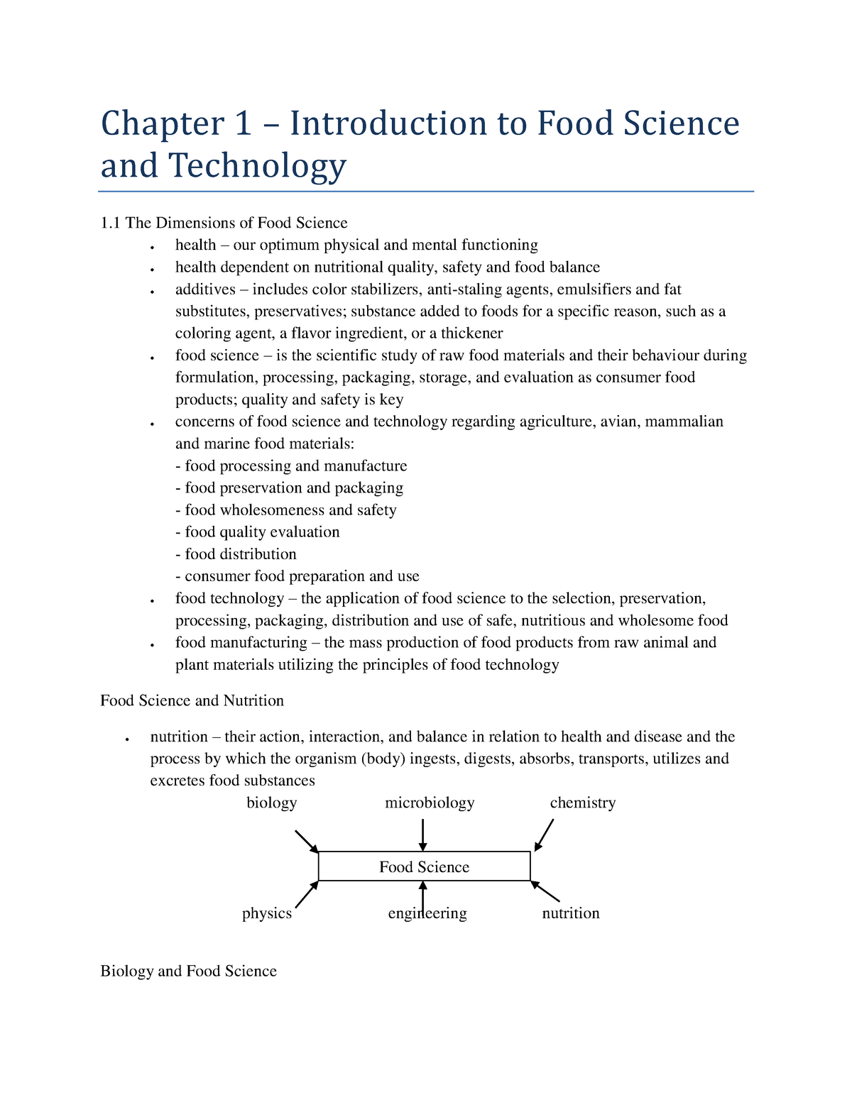 Summary Understanding Food Science and Technology - chapter
