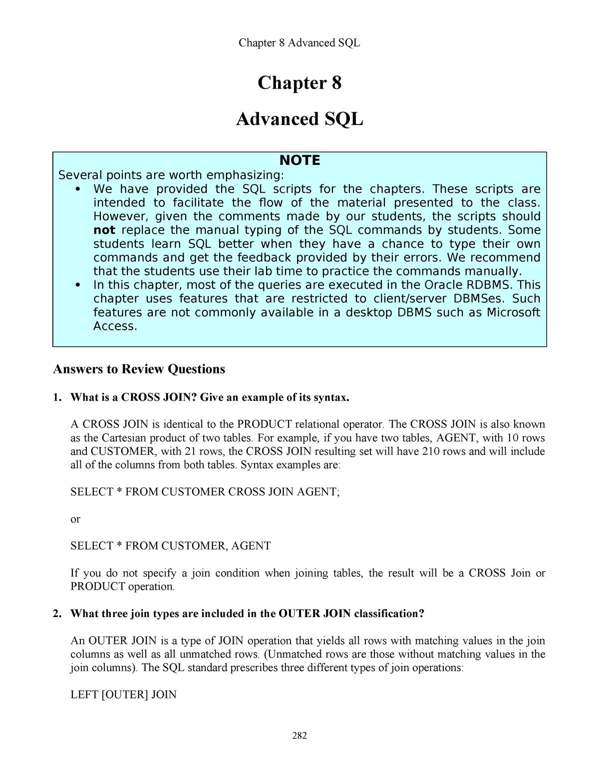 IM Ch08 Advanced SQL Ed10 - ITC423 Database Systems - CSU