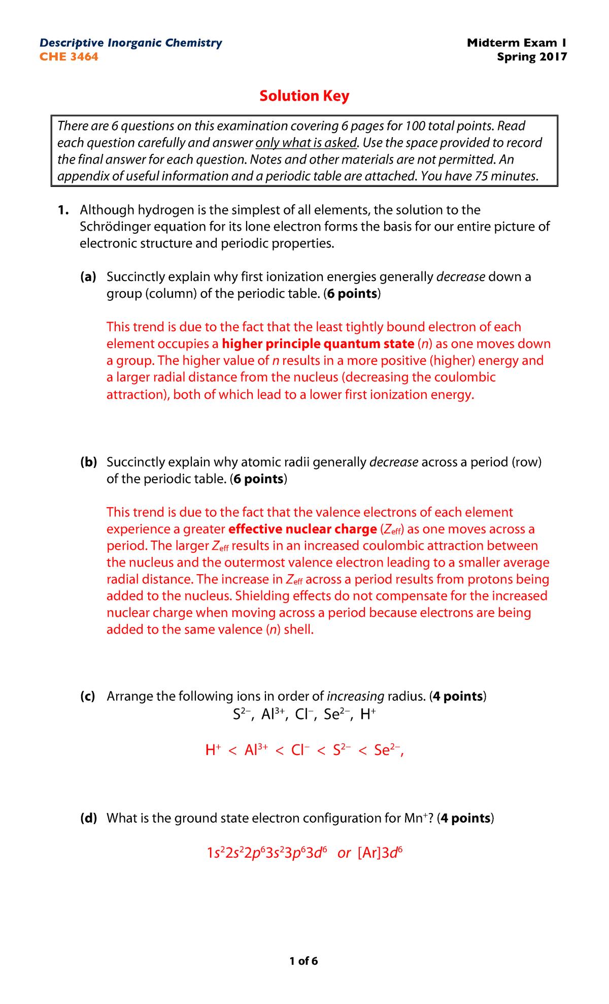 Exam 2015 - CHE 3464: Descriptive Inorganic Chemistry - StuDocu