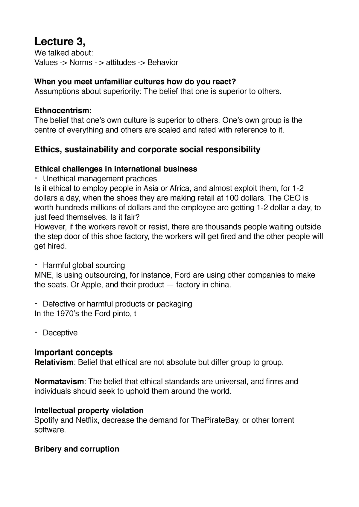 Lecture 3,Ethics, sustainability and corporate social
