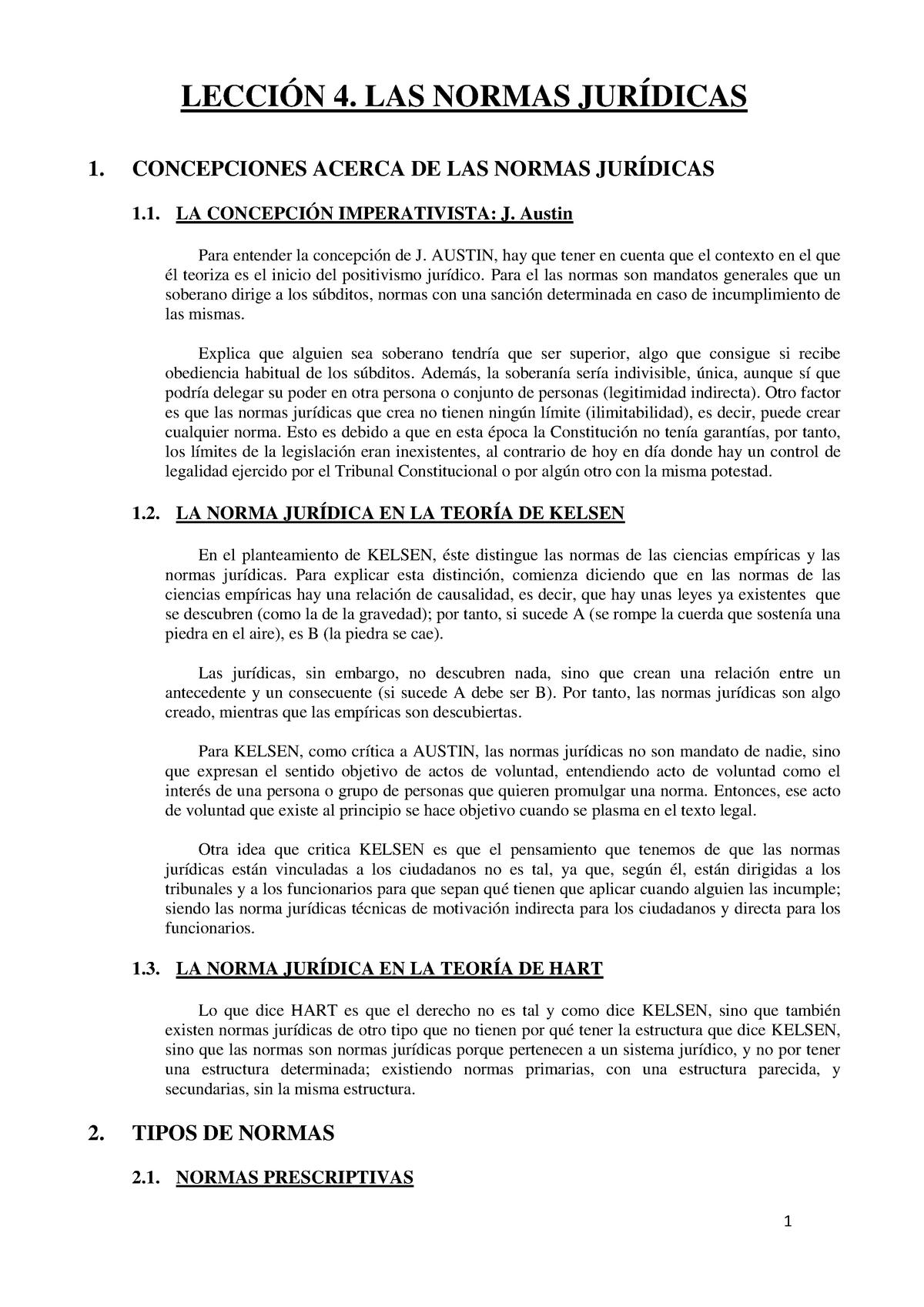 Lección 4 Las Normas Jurídicas Teoría Del Derecho Upv