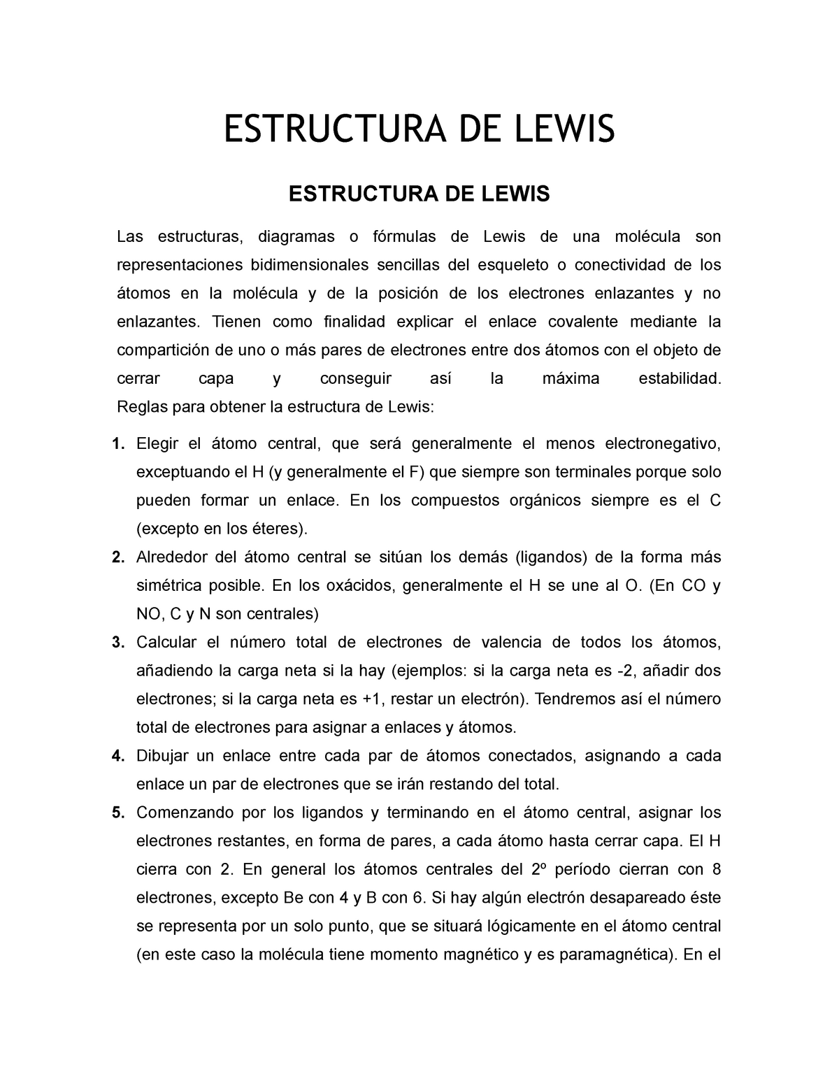Estructura De Lewis Investigación Y Ejemplos Quimica