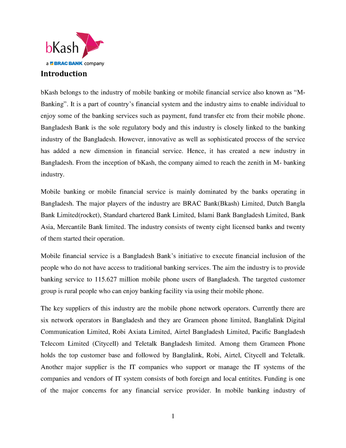 Marketing Strategy of b Kash - FB-502: Fundamental of Marketing