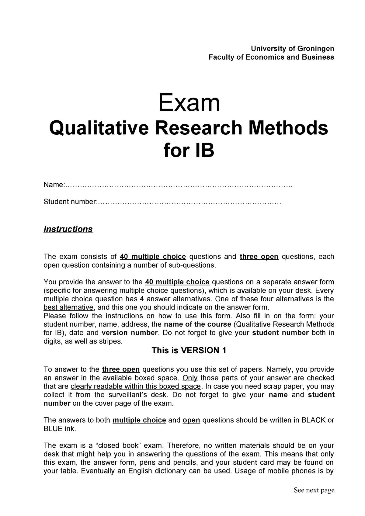 Exam 2017 - EBB633B05: Qualitative Research Methods for IB - StuDocu