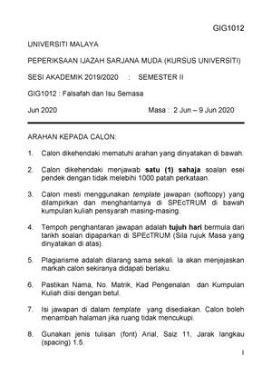 Esei Pendek Falsafah Praktikal Studocu