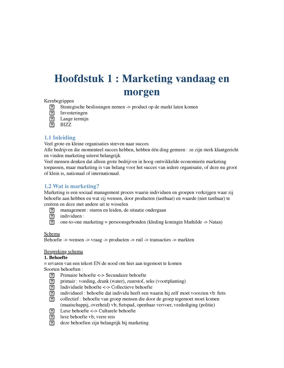 805cf1a3a4a Hfst 1 Marketing - kotler - HBH49A - StuDocu