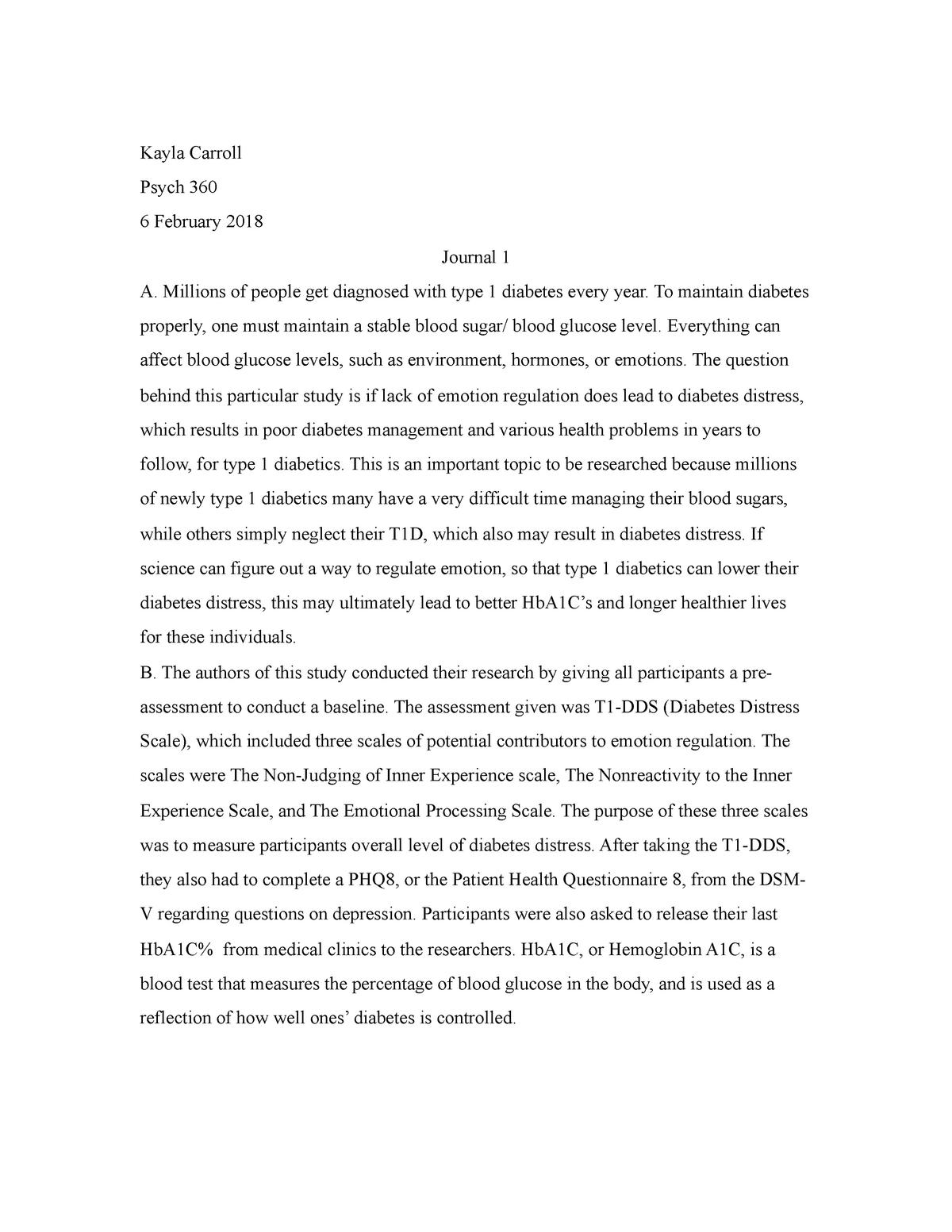 Journal 1 PDF - Prof  Lowe - PSYC 360: Biopsychology - StuDocu