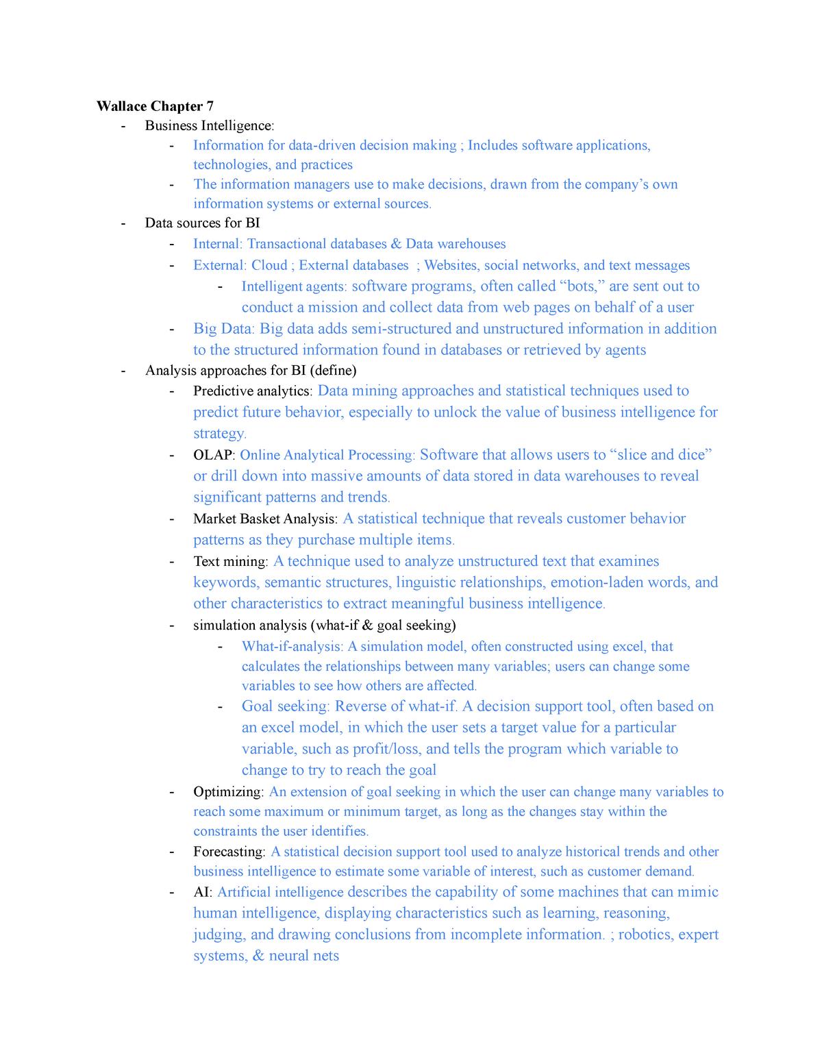 Study Guide Test 2 - ITM 310: Business Intelligence - StuDocu