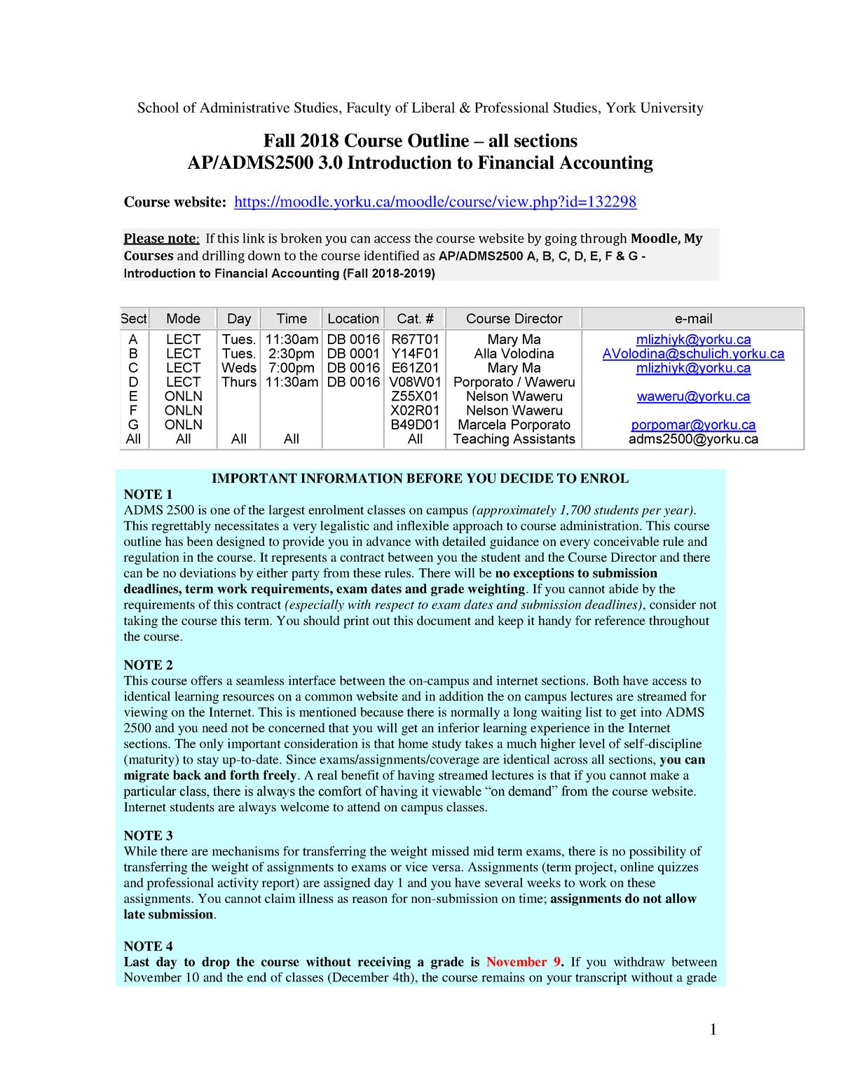 F18 - ADMS 2500 Course Outline - ADMS2500 - Yorku - StuDocu
