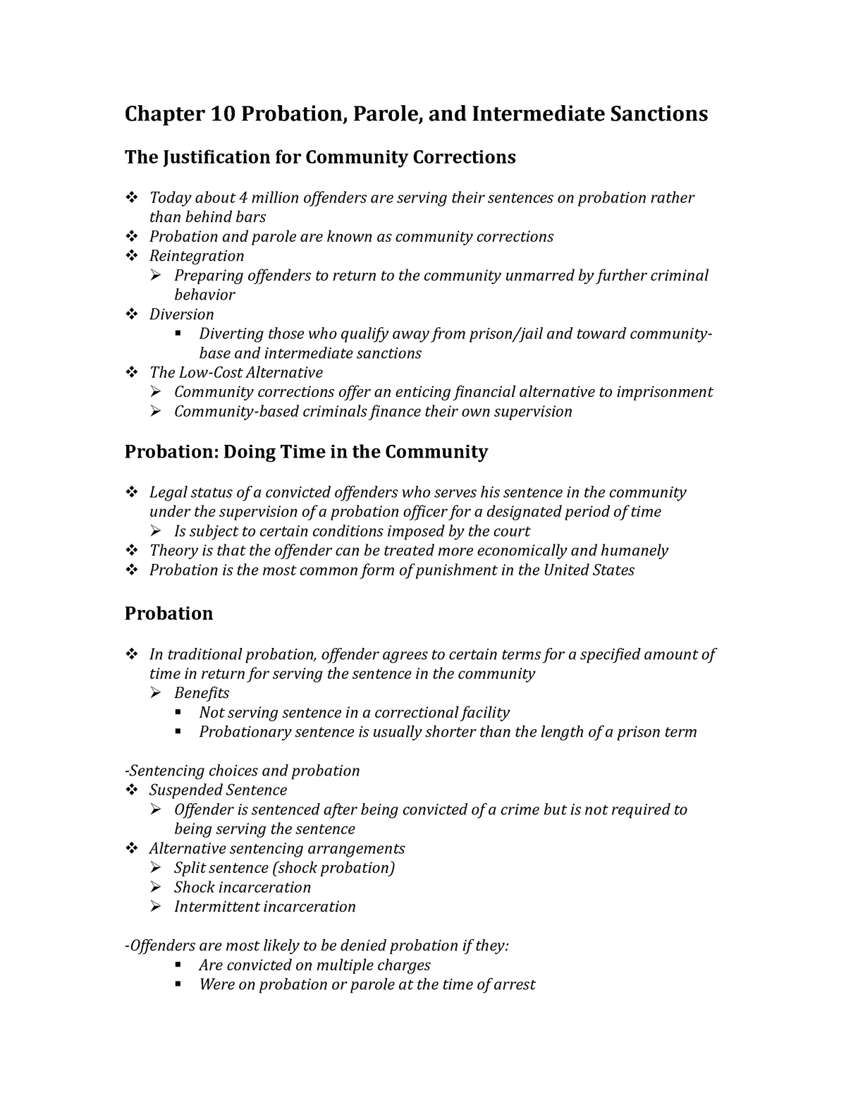CJUS 2100 Notes - Chapter 10 Probation, Parole, and