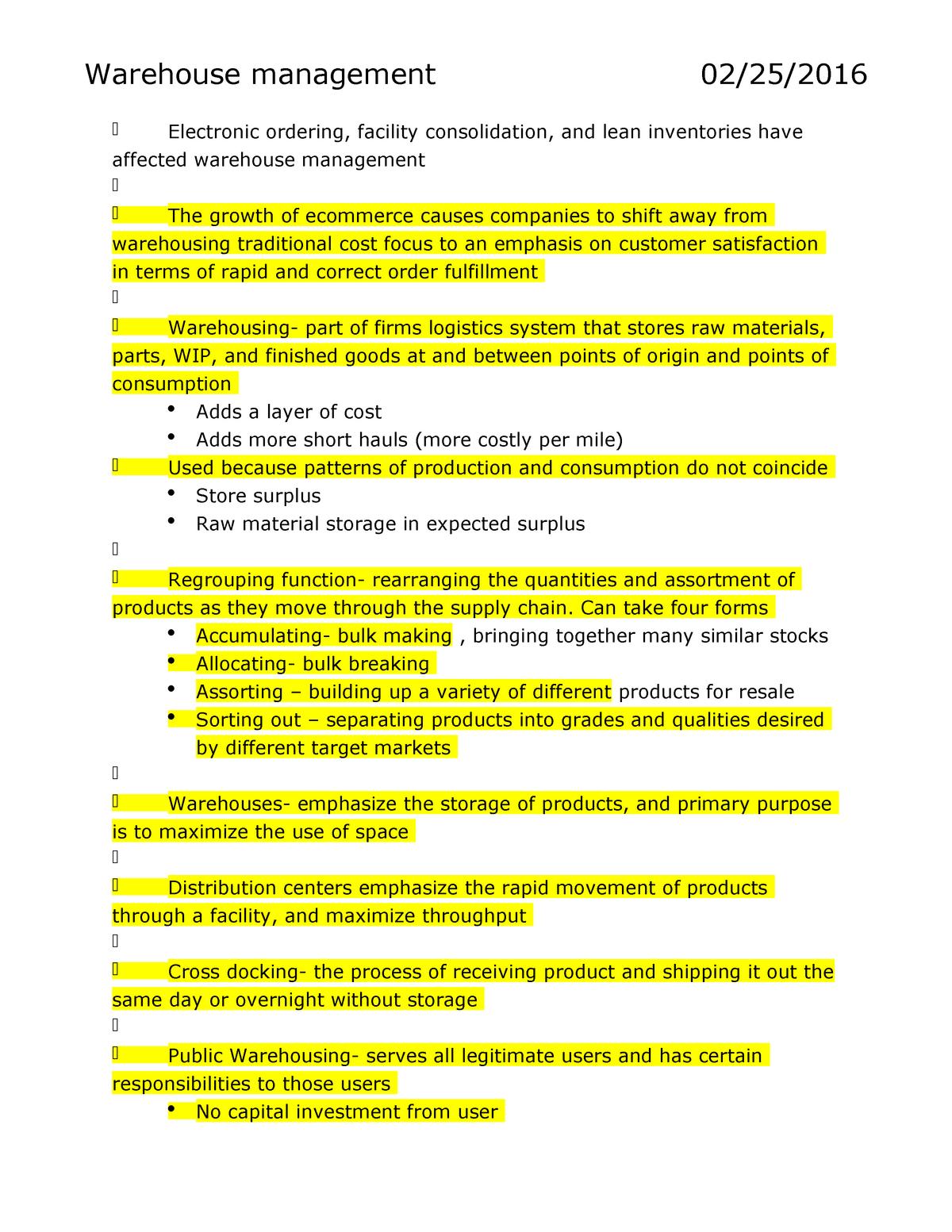 Chapter 10 - Summary Logistics Management - BUSML 3380 - StuDocu