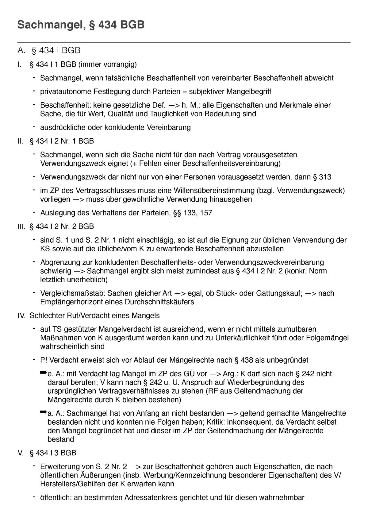 Sachmangel Hemmerskript Kaufrecht Jura Studocu