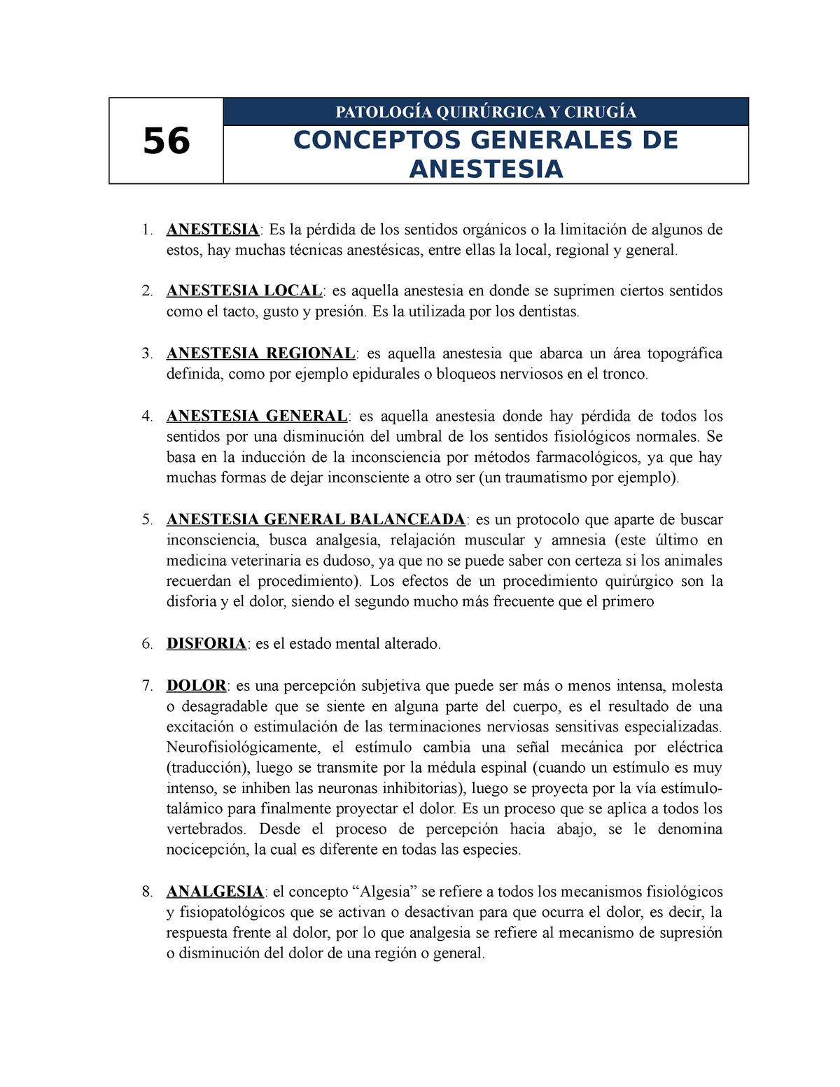 tipos de anestesia general veterinaria