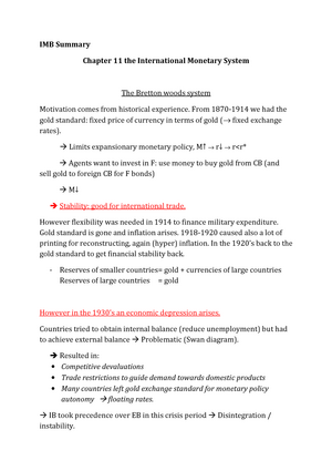 Summary International Monetary Relations: complete - StudeerSnel