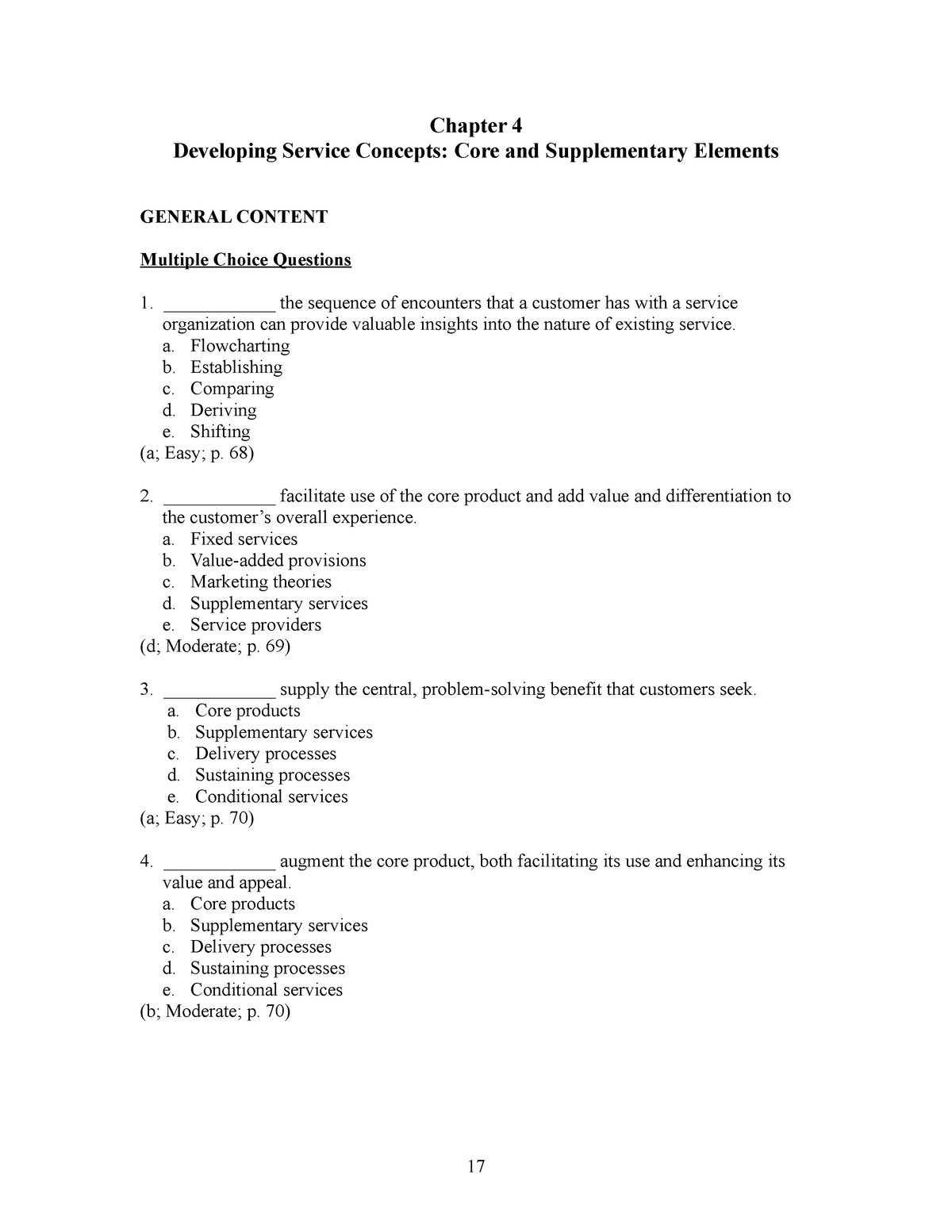 Chapter 4 MCQ Practice from Lovelock textbook - MKTG1053: Service