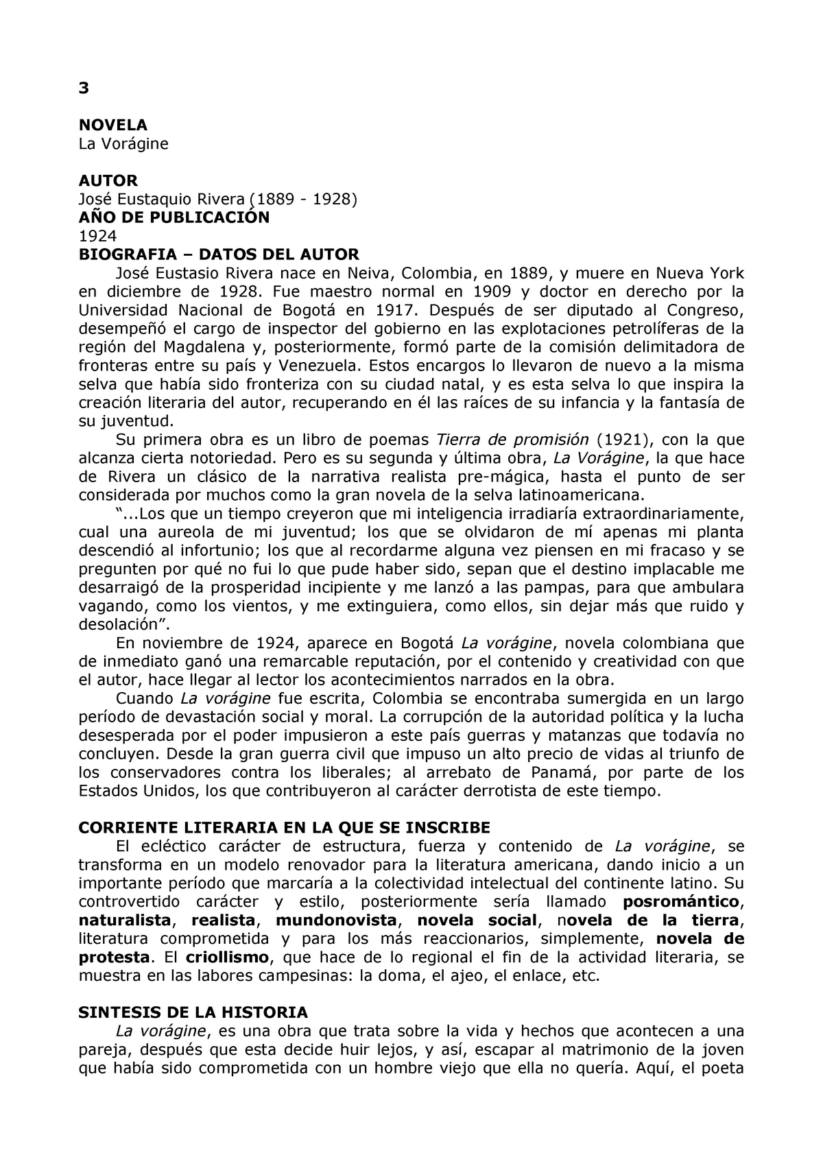 Ficha La Vorágine Literatura 01006 Uncuyo Studocu