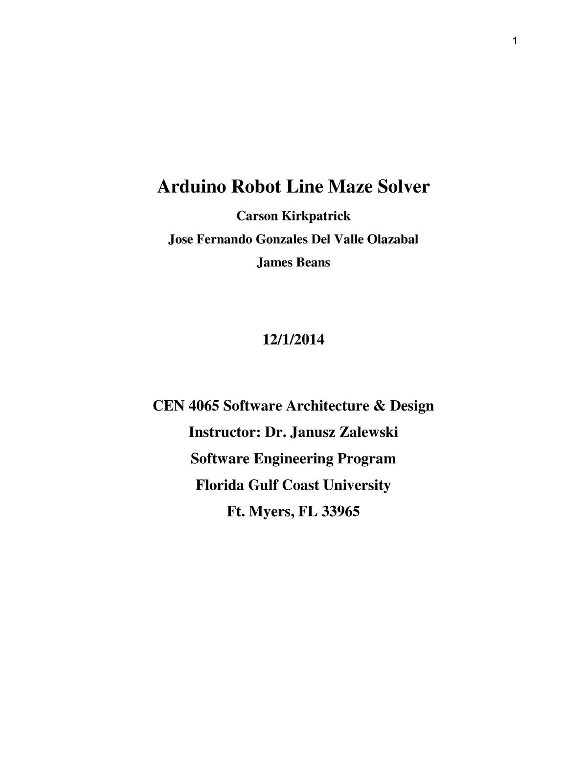 Arduino Robot Line Maze Solver Report - Taller De Tasacion