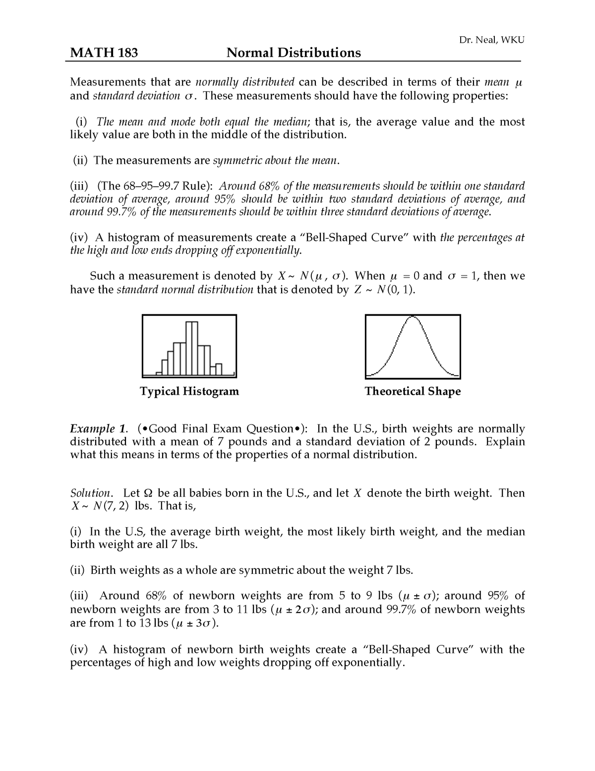 Normal - Lecture notes 7 - MATH 183: Introductory Statistics