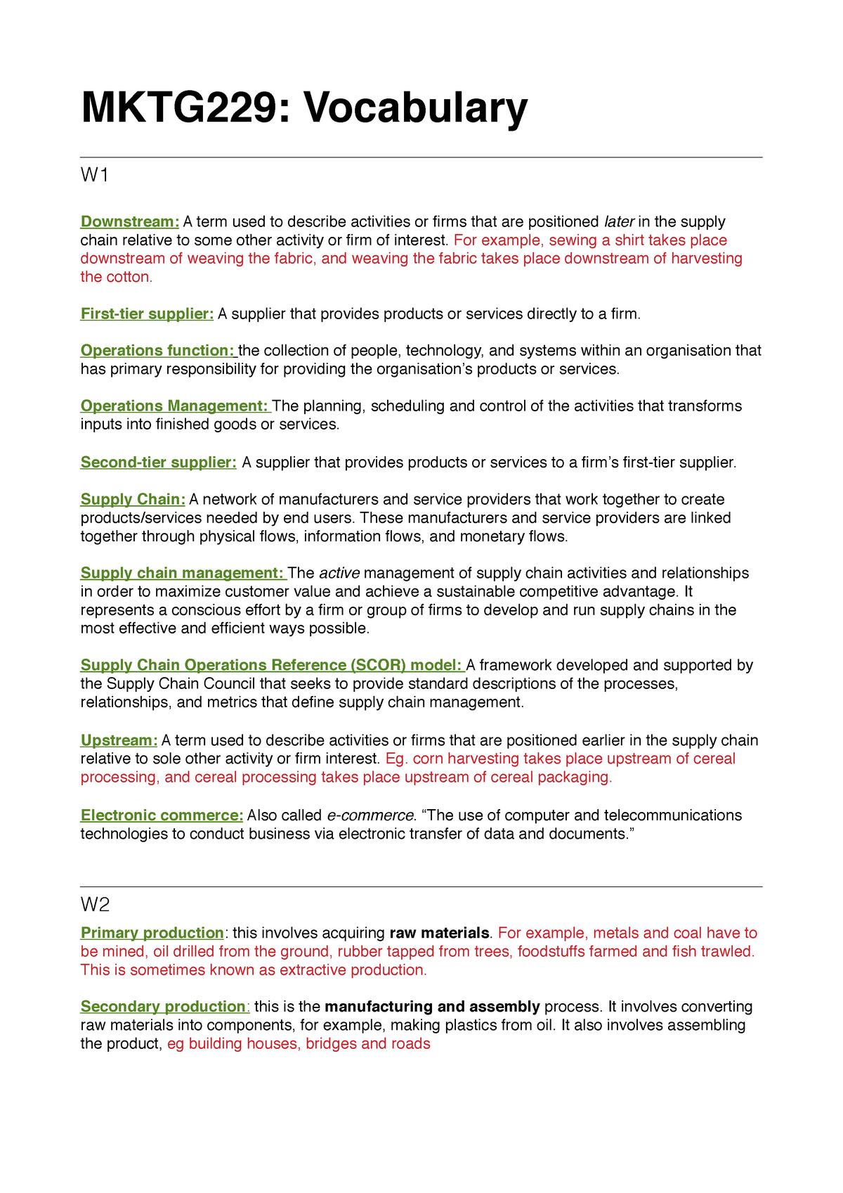 MKTG229-Vocabulary - Summary Routes to Market - MKTG229