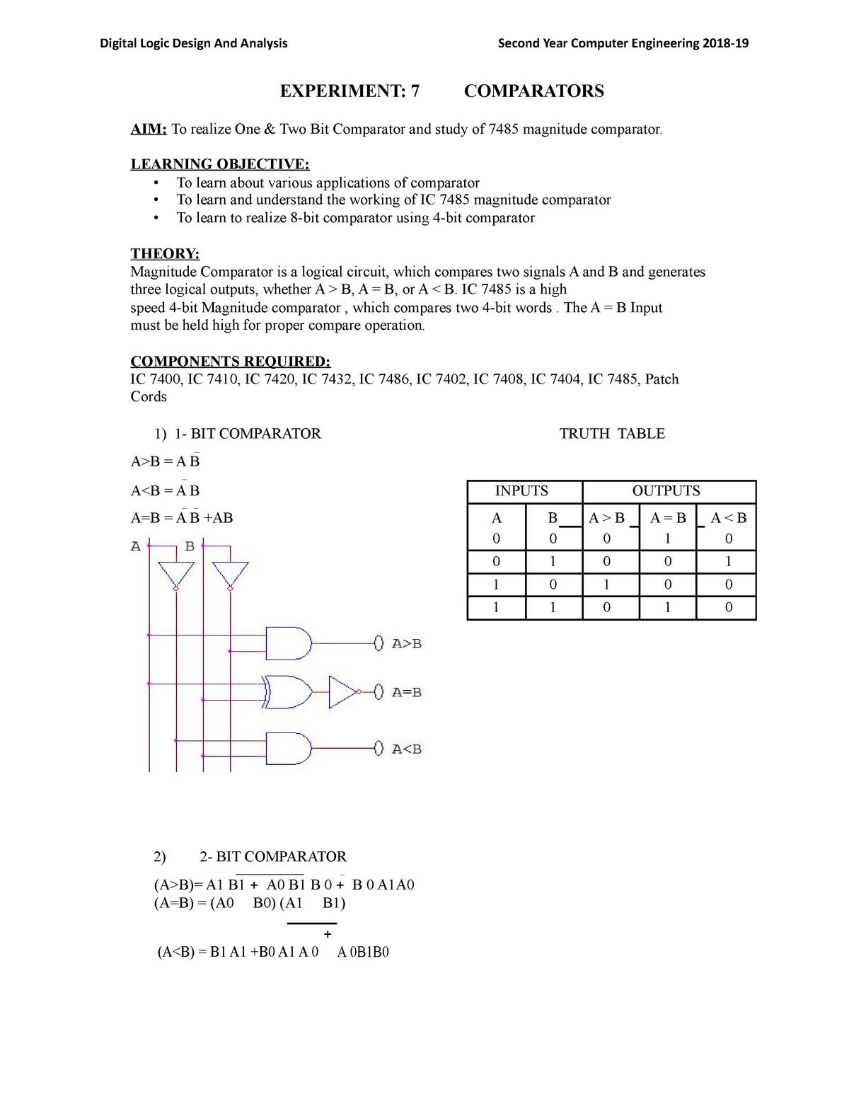 Experiment 7 DLDA Comparator - MUM-ENGIN-016 - StuDocu