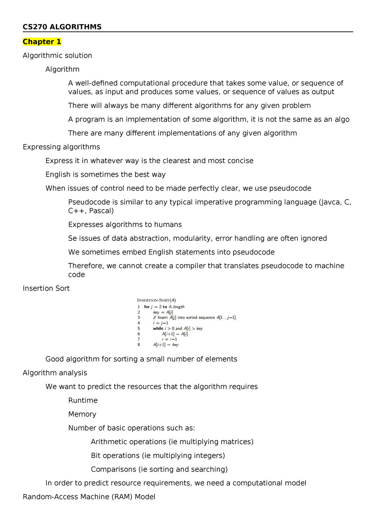 CS270 Algorithms - Notes during lectures - CS-270 - StuDocu