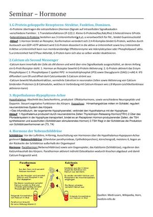Zusammenfassung - Seminar - Hormone - Grundlagen der Biochemie