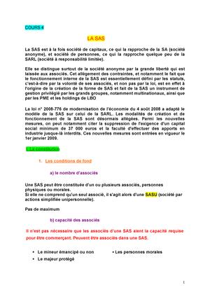 Cours 5 La Sas Droit Des Societes Kedge Studocu