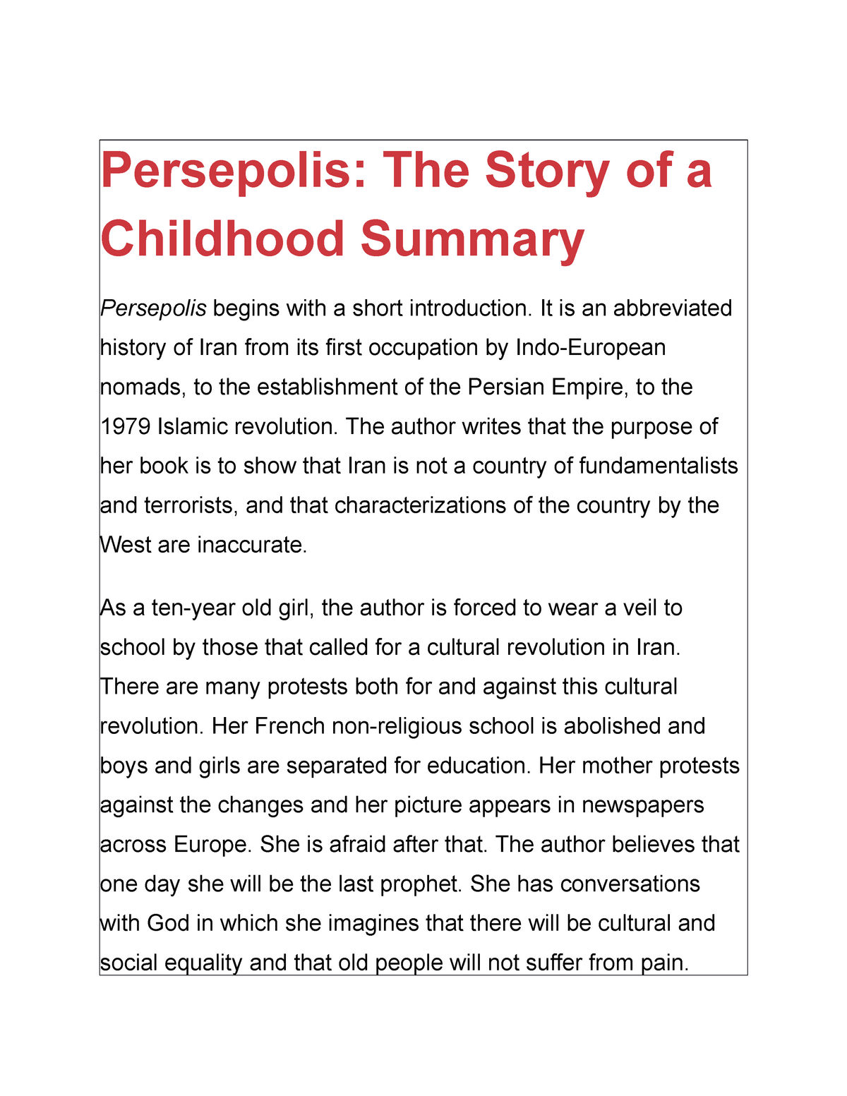 Summary The Complete Persepolis 2 Studocu