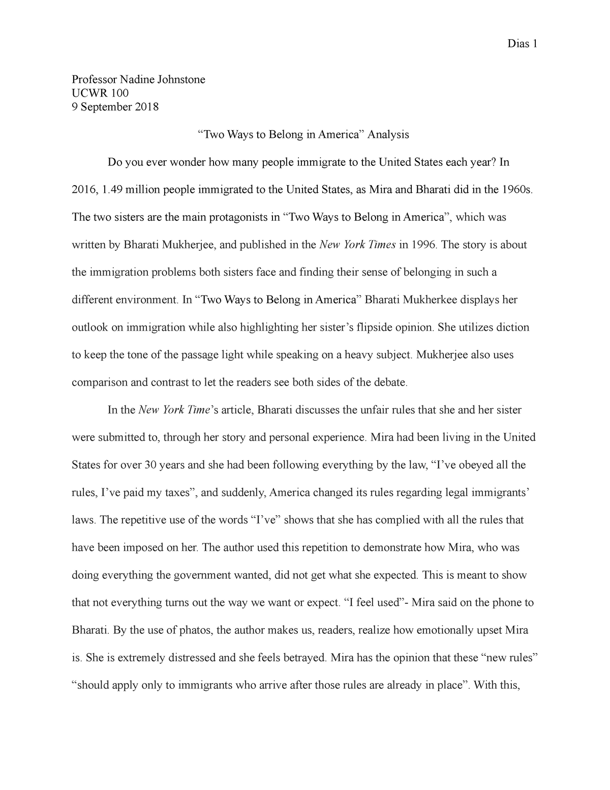 Two ways to belong in america essay