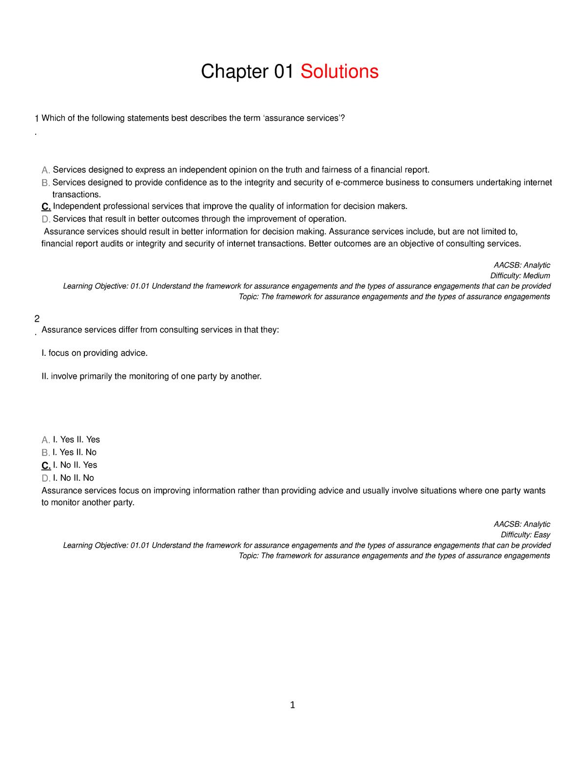 Sample 1 - Practice MCQ - ACCT1057: Auditing 1 - StuDocu